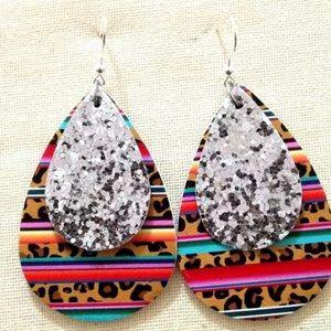 Tribal & Leopard Glitter Leather Teardrop Earrings